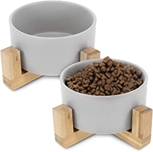 Navaris Ceramic Elevated Cat Bowls - Raised Double Food and Water Bowl Set for Cats and Small Dogs with Wood Stands - Eco Friendly Pet Bowls - S, Grey