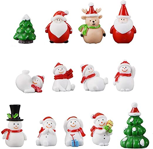 Christmas Bear Snow Trees Santa Claus Figure Miniature Fairy Garden Figurine DIY