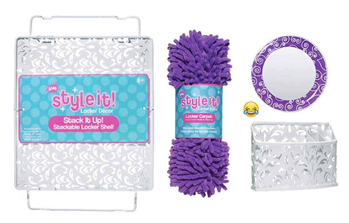 School Locker Organizer Kit - Accessories and Decoration Set with Mirror, Bin, Rug and Shelf (Purple)