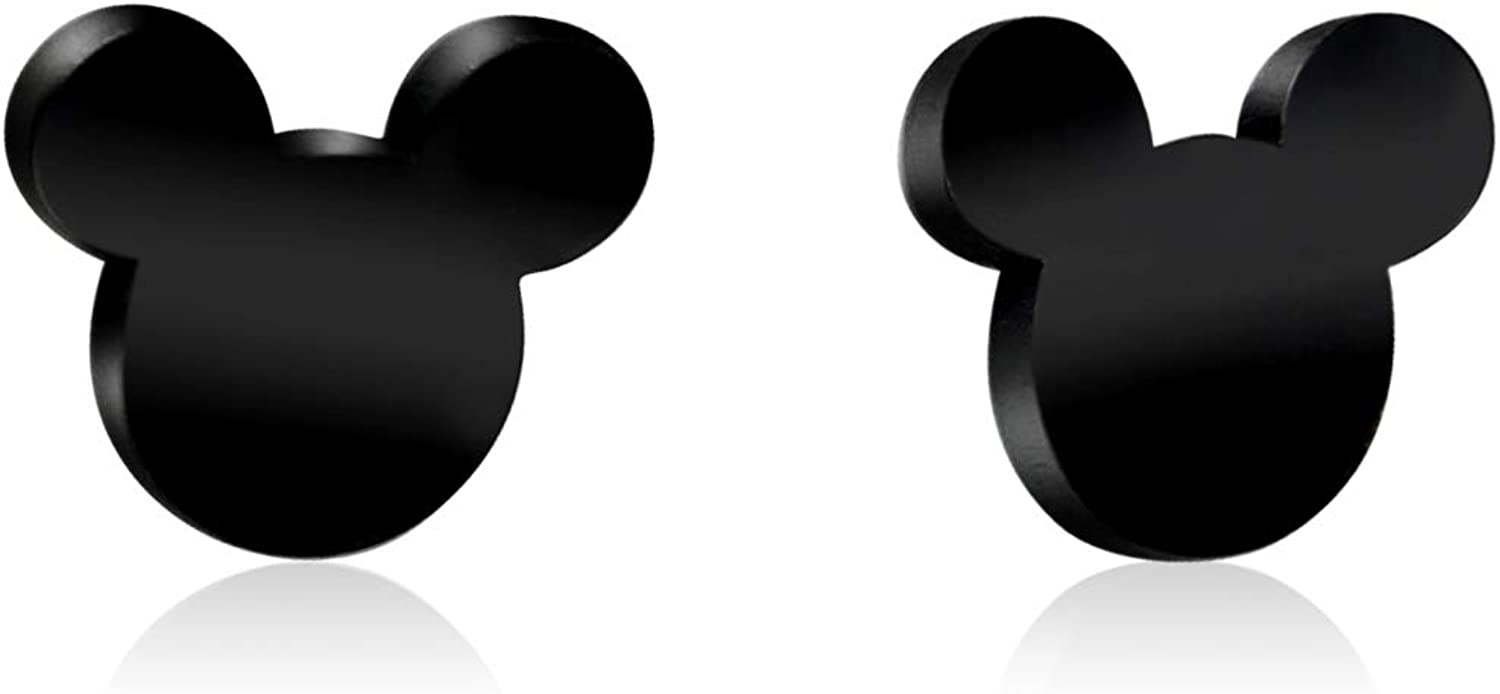 Tiny Stainless Steel Mini Cartoon Character Silhouette Mouse Ears Fashion Stud Earrings (4 Colors)