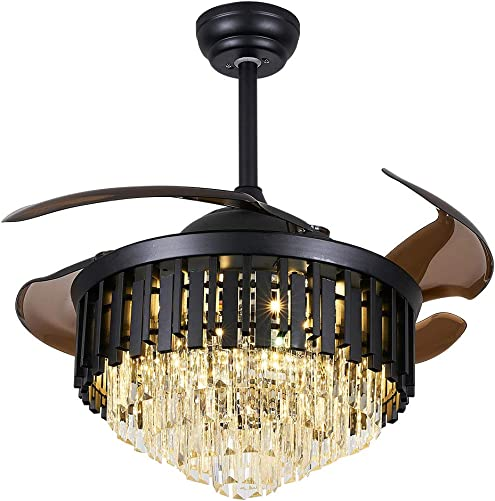 Crystal Ceiling Fan Chandelier Indoor Luxury Hiding Quiet 42 Inch Polished Gold Retractable Ceiling Fan Light LED 3 Color Setting