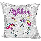 Personalized Mermaid Reversible Sequin Pillow, Custom Unicorn Rainbow Sequin Pillow (White/Silver)
