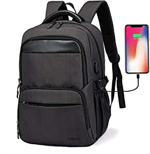 15.6 Inch Travel Business Laptop Backpack with USB Charge Port for Men Women School College Students Black