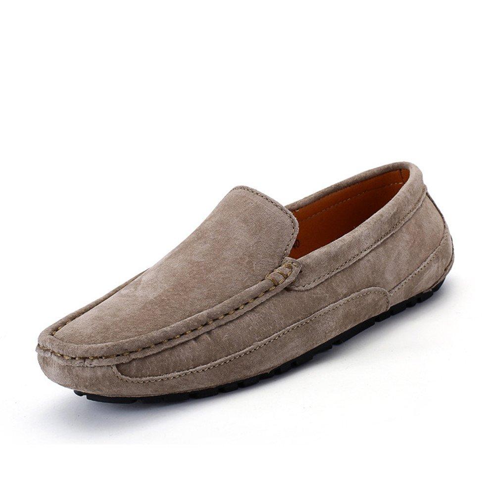 Sunny&Baby Conducción de los hombres Mocasines Penny Trabajo hecho a mano Sutura Gamuza Cuero genuino Mocasines Zapatos de barco Antideslizante (Color : Khaki, tamaño : 39 EU) 39 EU|Khaki