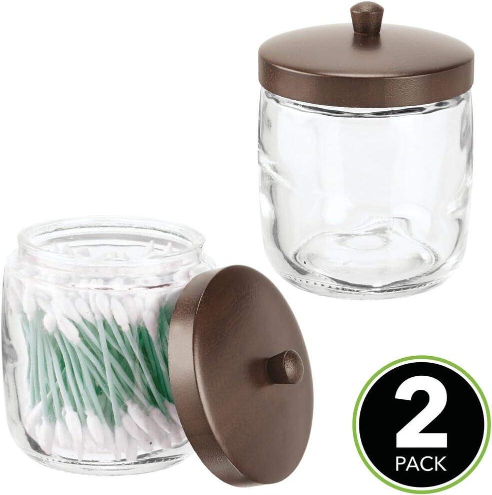Haargummis etc Glasbeh/älter mit Deckel f/ür Wattepads mDesign 2er-Set Kosmetik Aufbewahrungsglas vielseitiger Kosmetik Organizer f/ür den Waschtisch durchsichtig und braun