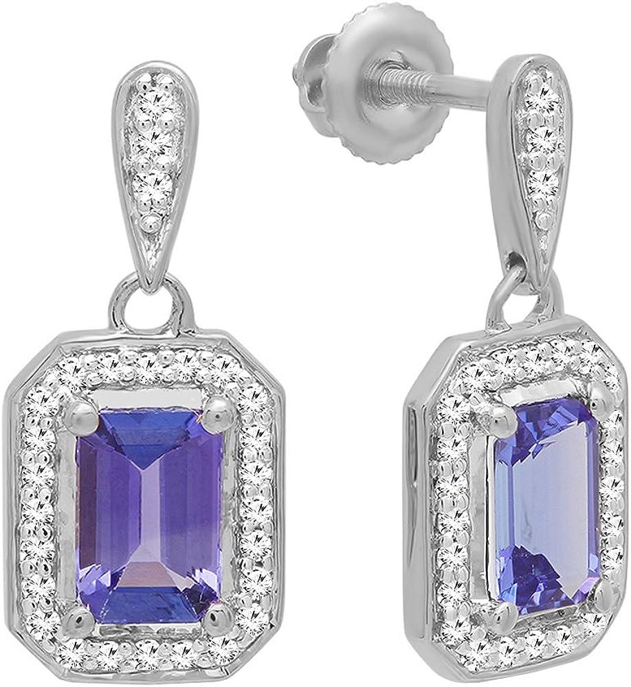 18K oro blanco 6x 4mm cada Esmeralda Laboratorio creado Gemstone y redondo blanco diamante pendientes de gota