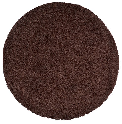 RugStylesOnline, Shaggy Collection Shag Area Rugs, 5' Round - - N Round Brown