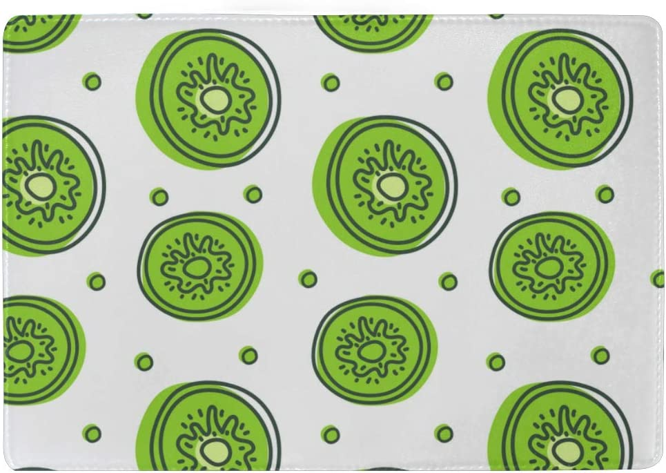 Sliced Kiwi Fruit Hand Drawn Blocking Print Passport Holder Cover Case Travel Luggage Passport Wallet Card Holder Made With Leather For Men Women Kids Family