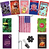 Seasonal Garden Flags Set for Outdoors | 10 Double-sided Weather Resistance Flags 12 X 18 inch, Metal Flag Pole, and Flag Stoppers | Including 4th of July banner and every American Holiday