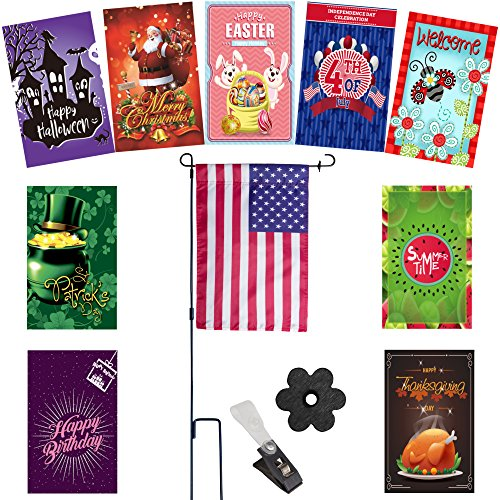 Seasonal Garden Flags Set for Outdoors | 10 Double-sided Wea