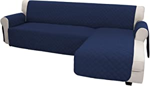 Easy-Going Sofa Slipcover L Shape Sofa Cover Sectional Couch Cover Chaise Lounge Cover Reversible Sofa Cover Furniture Protector Cover for Pets Kids Children Dog Cat (X-Large, Navy/Navy)