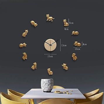 reloj de pared Moderno DIY Caliente Reloj Creativo de Gatito Lindo GAODUZI: Amazon.es: Hogar