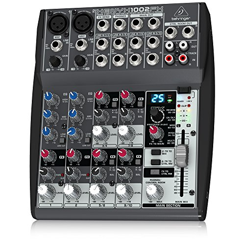Behringer Xenyx 1002FX Premium 10-Input 2-Bus Mixer with XENYX Mic Preamps, British EQs and Multi-FX - Sealed Gear Cable