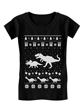 6311afa0 Dinosaur T-Rex Ugly Christmas Cute Holidays Toddler/Kids Girls' Fitted T-