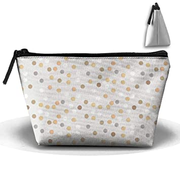 f166965162 Amazon.com : Golden Polka Dots Vintage Style Art Waterproof Trapezoidal Bag  Cosmetic Bags Makeup Bag Large Travel Toiletry Pouch Portable Storage  Pencil ...