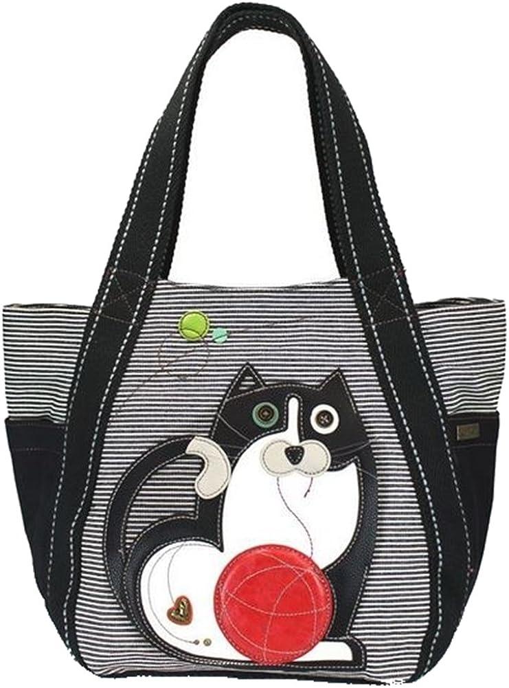 Chala Fat Cat Carryall Zip Tote, Black Stripe