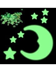 200 Glowing Stars and 1 Moon Premium Glow in The Dark Stars Wall Stickers, Night Luminous Room Wall Decal Perfect Glow Stars for Kids' Rooms, Ceiling Decorations, Romantic Rooms