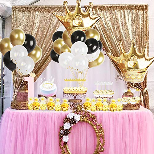 Gold Crown Party Decoration Kit Gold Crown Pouch,Foil and Latex Balloons,Crown Cake Toppers for Birthday,Bachelorette,Wedding Favors Supplies -