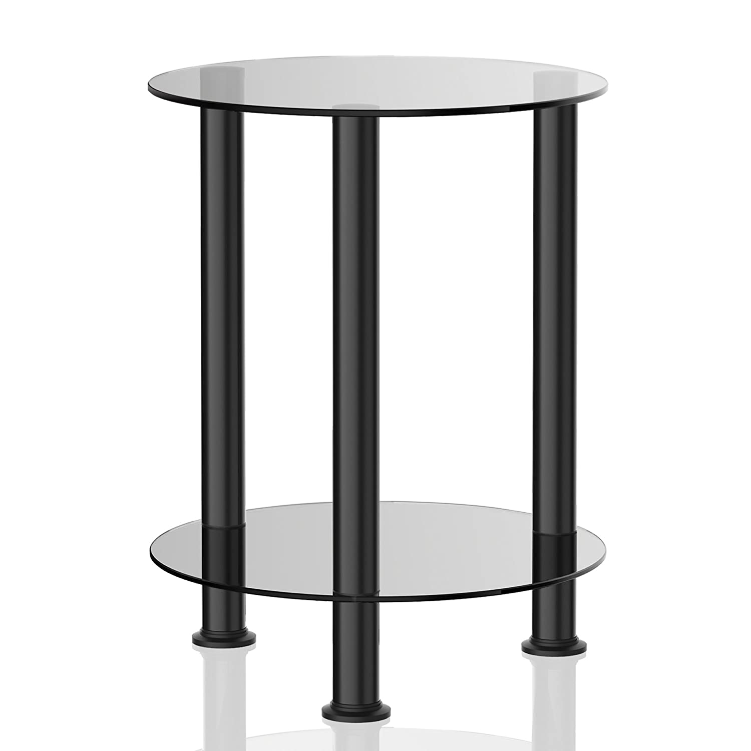 Amazon.com: Fitueyes Grey Glass End Table Accent Side Table Coffee Table  DT203801GT: Kitchen U0026 Dining