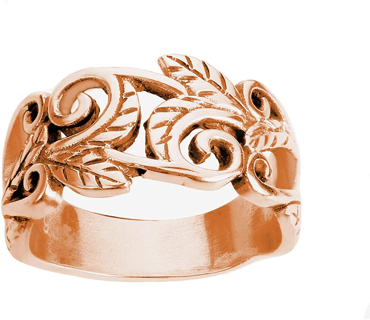 CloseoutWarehouse Sterling Silver Acacia Leaves Filigree Ring (Color Options, Sizes 2-15)