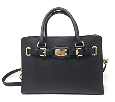 4910a537a430 Michael Kors Saffiano Leather Hamilton East West Satchel (Black). Roll over  image to zoom in