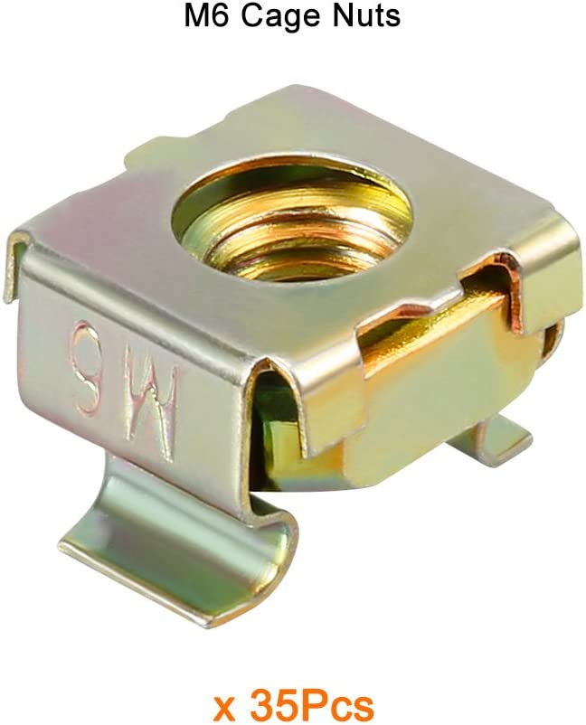 M6 Cage Nut Carbon Steel Zinc Plated Bronze Tone for Server Shelf Cabinet uxcell 35 Pack