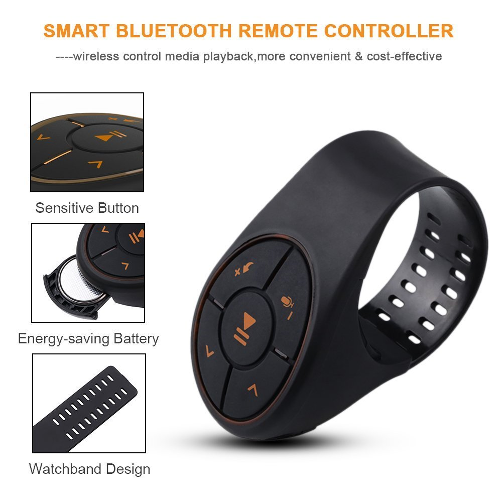 Steering Wheel Remote Control Bluetooth Jeda Music Audio Adapter Controller Car Media Button for Vehicle Bicycle Motorcycle