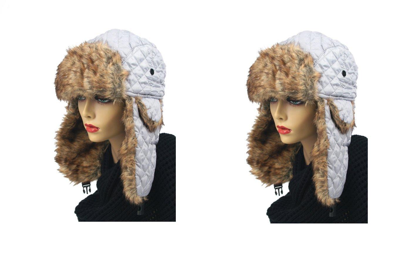 Pop Fashionwear Women's Trapper Quilted Winter Ear Flap Hat 901HT (2 pcs Light Gray & Light Gray)