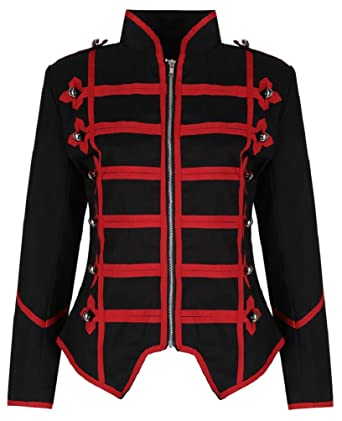 Ro Rox Womens Black Red Military Parade Emo Punk Drummer Jacket - (S)