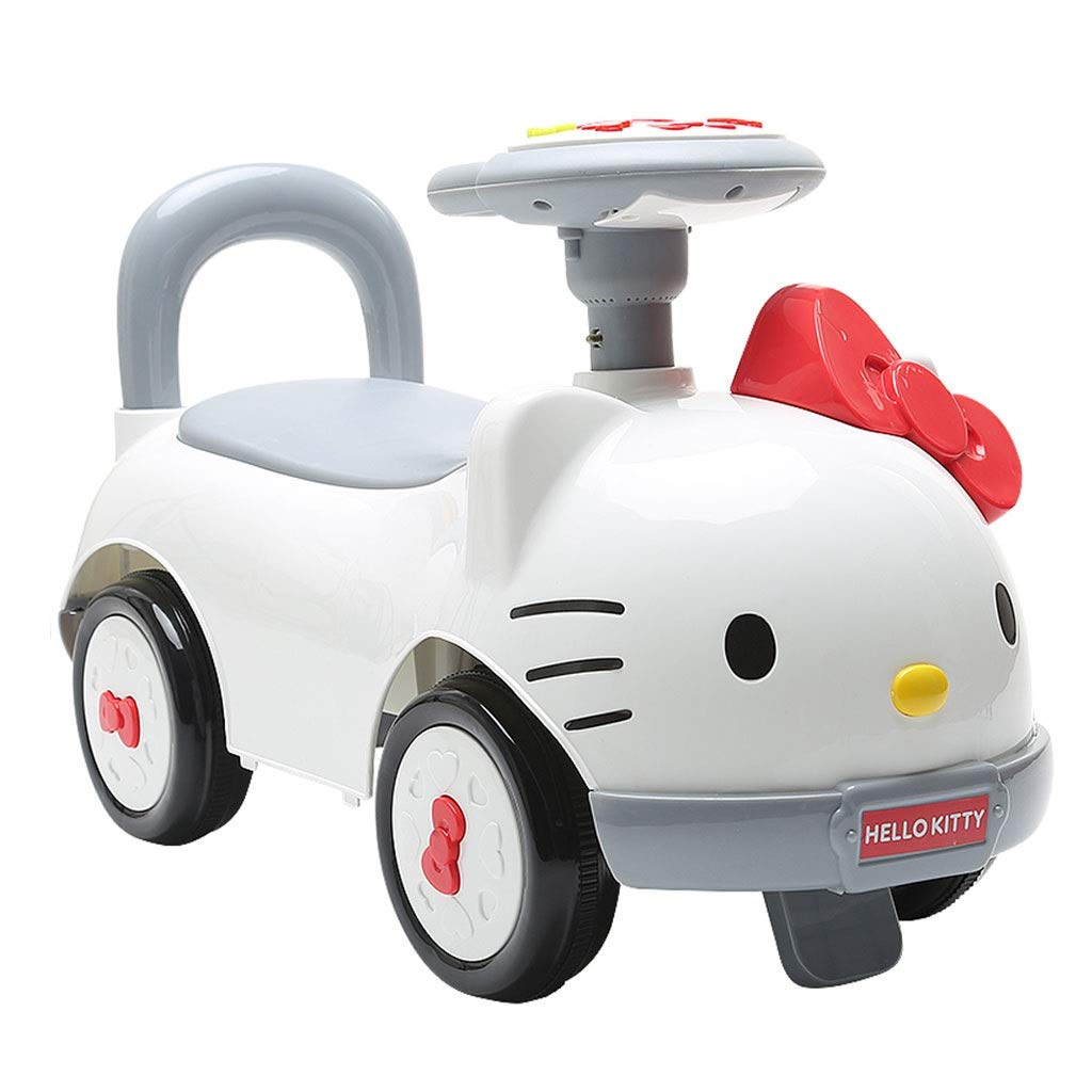 Pedal Cars Hello Kitty Child Twisting Car 1-3-5 Year Old Baby Scooter NIU NIU Yo-Yo Sliding Music Car White Crossover Balance Storage Toy Car (Color : White, Size : 682837cm)