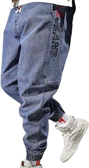 GUOCAI Men's Loose Stretchy Elastic Waist Jogger Pants Jeans Denim Pants