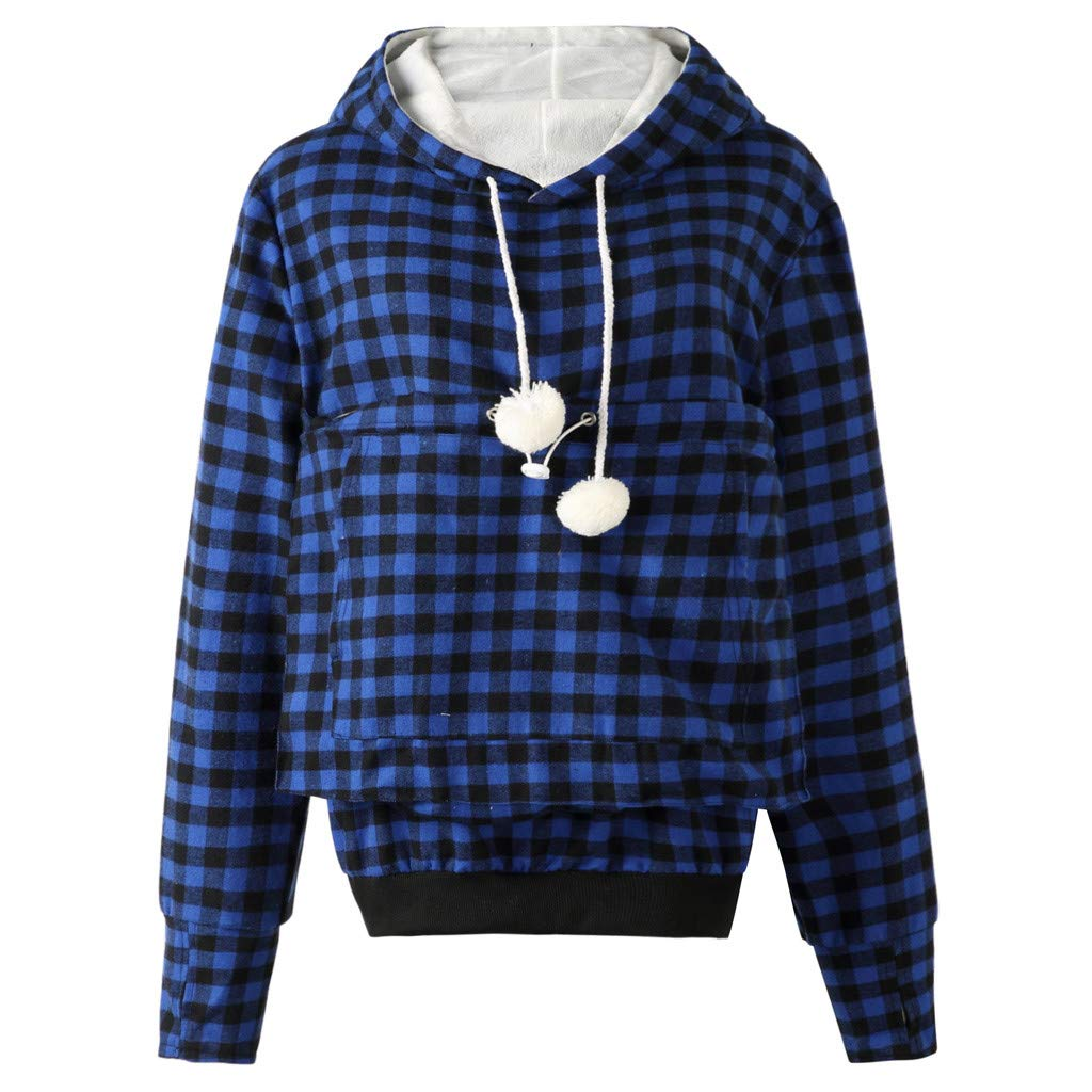 Dermanony Womens Plaid Printed Hoodies Fashion Long Sleeve Pet Pullover Big Pockets Winter Velvet Sweatshirt Loose Tops Blue by Dermanony _Blouses