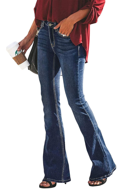 Yezelend Donna Jeans a Zampa Pantaloni a Vita Alta Elasticizzati Donna Jeans a Zampa di Elefante Svasati Classici Vita Alta Push-Up Blu Pantaloni Denim Larghi Blu Medio, M