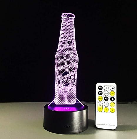 Diseño de la botella de cerveza Lámpara Nocturna 3D Panel ...