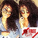 Brazilian Remy Hair 130% Density Full Pre Plucked Natural Hairline Deep Curly Long Human Hair Lace Front Wigs for African American Black Women with Baby Hair 14inch