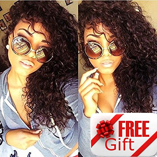 Brazilian Remy Hair 130% Density Full Pre Plucked Natural Hairline Deep Curly Long Human Hair Lace Front Wigs for African American Black Women with Baby Hair 20inch by Sarah Wig