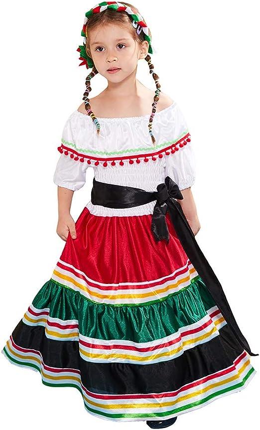 ReneeCho Disfraz Mexicano para niña de Halloween, Traje Tradicional para niña, Falda de Baile de Senorita, Disfraz Mexicano para niña, Medium(7-9yrs): Amazon.es: Ropa y accesorios