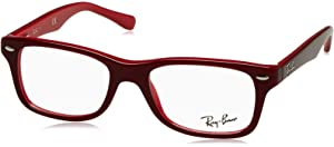 6a0294ef1bc RAY BAN R Y1536 Eyeglasses 3573 Top Black On Red 46-16-125  Amazon ...