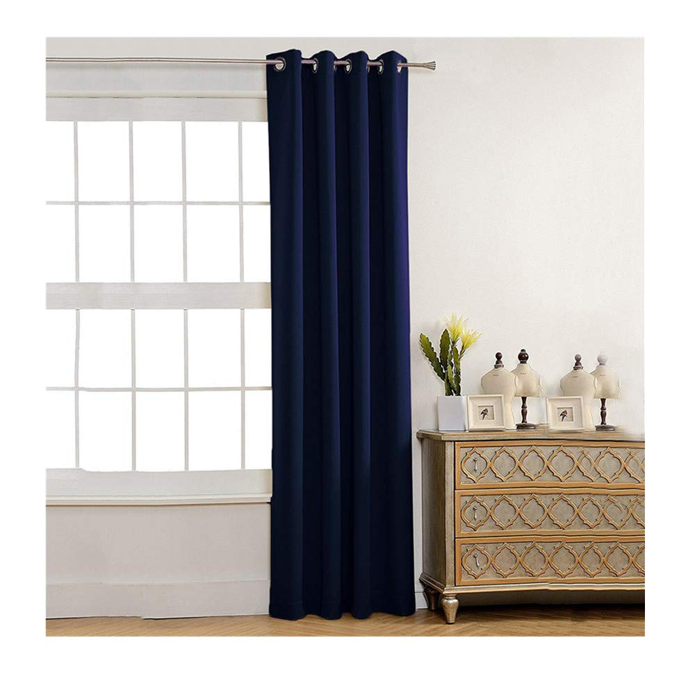 Insulated Foam Lined Heavy Thick Curtains,2PCS Blackout Curtain, Modern Smooth Fabric Solid Color Window Door Curtain for Dining Room,Living Room,Bedroom (Dark Blue) by Promisen