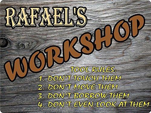 RAFAEL Workshop tool rules wood effect design décor sign 9
