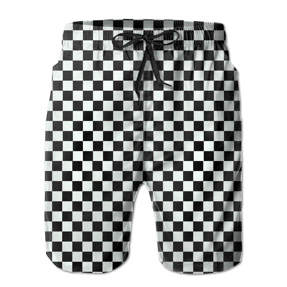 AiKe Men's Black Checkered Summer Beach Shorts Quick-Drying Swimwear Shorts Pocket Beach Surfing Boardshorts by AiKe (Image #1)