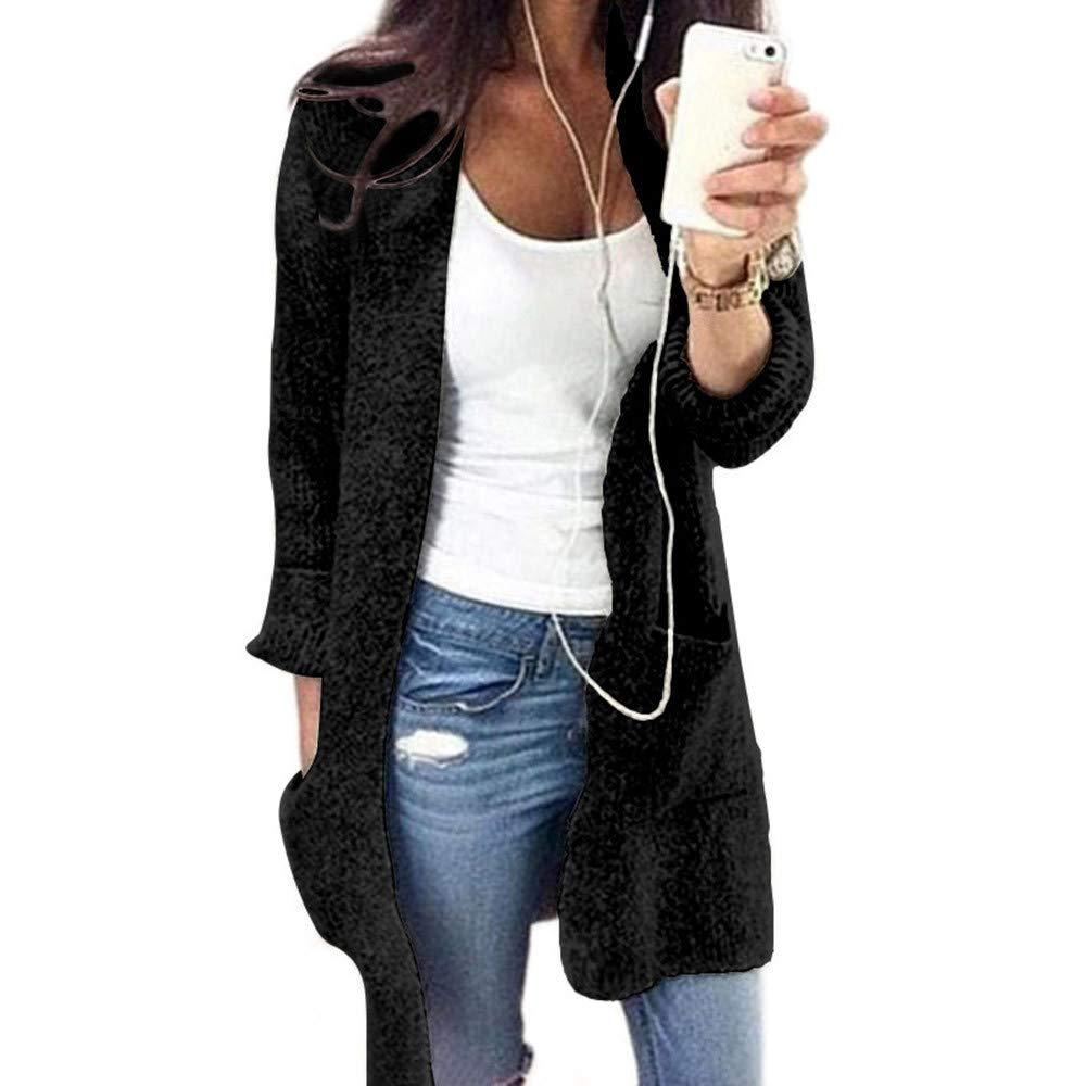 Clearance! Gallity Womens Winter Warm Cardigan Jacket Open Front Knit Long Sleeve Sweater Outwear Coat Pocket (M, Black)