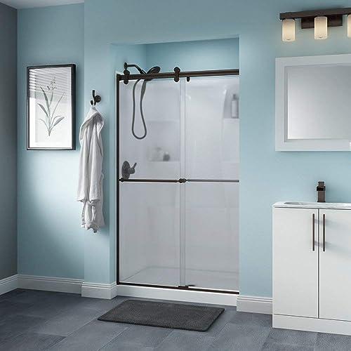 Delta Shower Doors SD3276561 Trinsic Semi-Frameless Contemporary Sliding Shower Door 48in.x71in Handle, Chrome Track