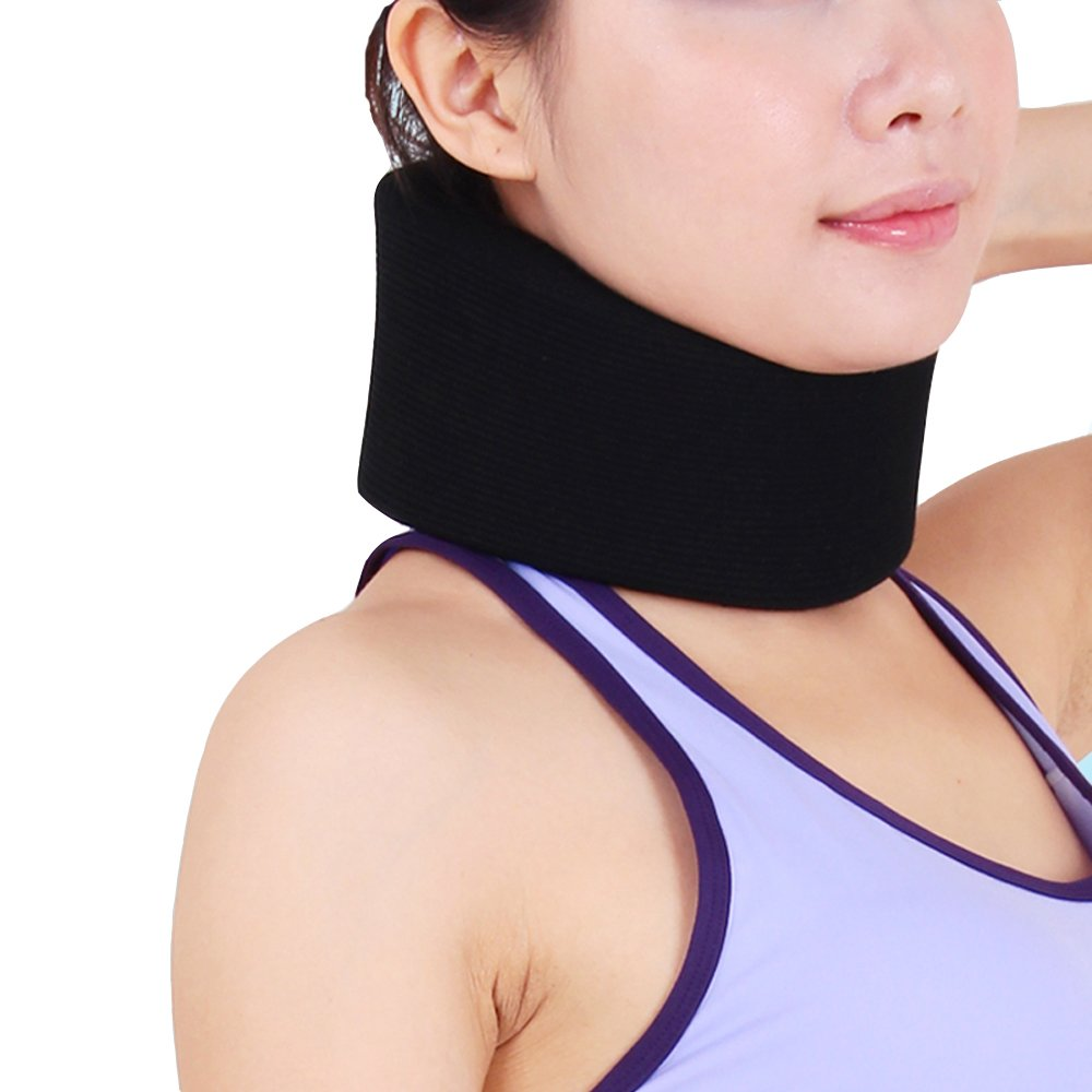 OBER Adjustable Soft Neck Brace Support Sponge Cervical Collar Stiff Neck Pain Relief Protect Neck Health Care Posture Corrector (Black, L)