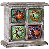 Cheap 4 Drawer Ceramic Desktop Mini Chest of Drawers Jewellery Wood Box Cabinet (Multi-Colour)