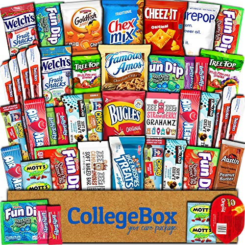 College Box Care Package (45 Count) Snacks Cookies Bars Chips Candy Ultimate Variety Gift Box Pack Assortment Basket Bundle Mixed Sampler Treats College Students Office Fall Final Exams Christmas