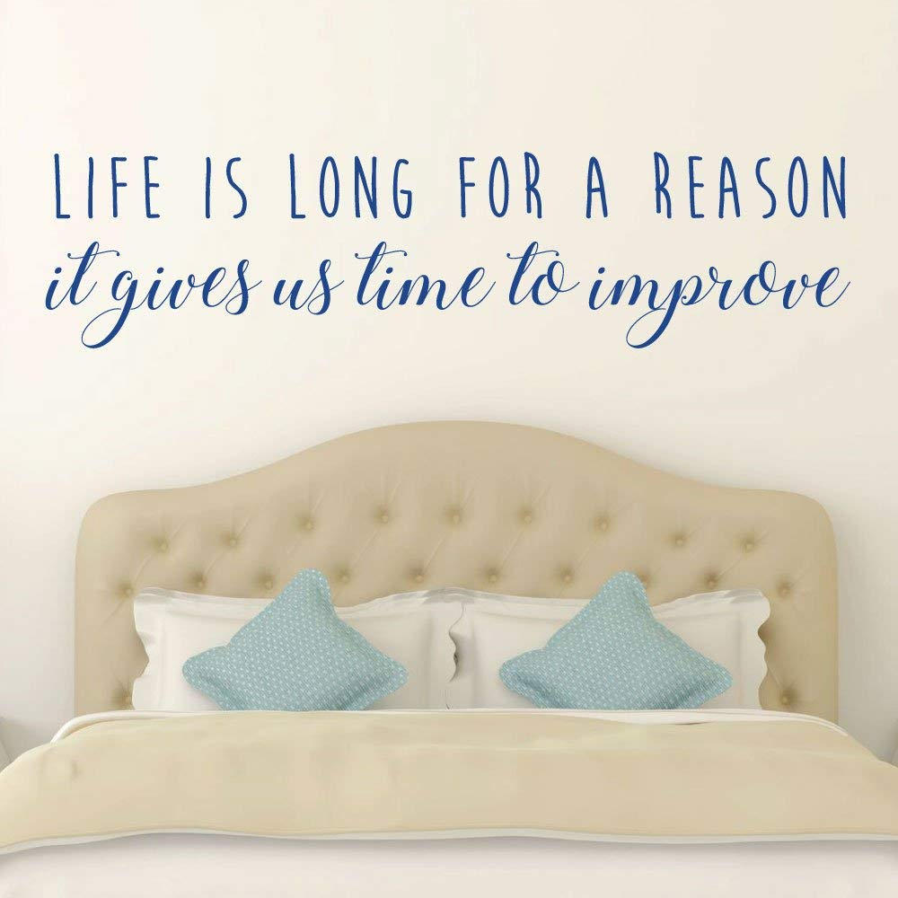 Life Is Long For A Reason Quote Vinyl Wall Decal Lettering for Living Room Gray Black White Other Colors Pink Blue Large Sizes Bedroom Decor Small Inspirational Wall Art