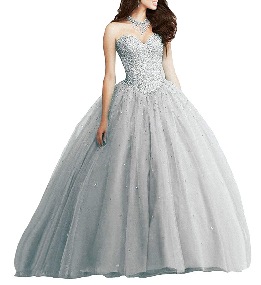 Silver Vantexi Women's Sweetheart Beading Tulle Quinceanera Dresses Formal Evening Prom Gowns