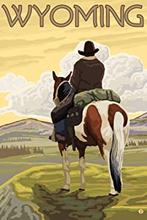 product image for Wyoming - Cowboy and Horse (12x18 Art Print, Wall Decor Travel Poster)