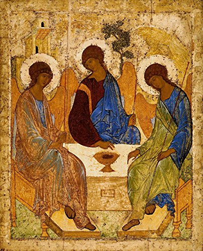 (Holy Trinity PRINT ON CANVAS 16x20 Picture Andrei Rublev icon Catholic prints Religious wall art)